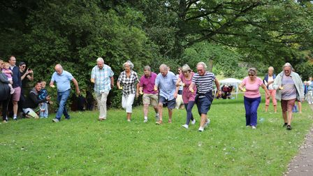 Grandparents duck and spoon race