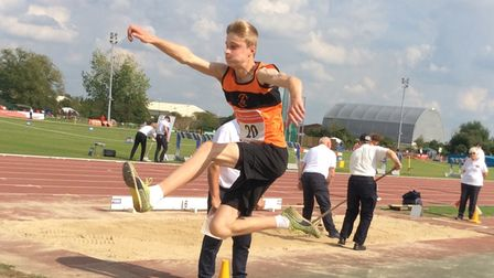 Jamie Timms of Stevenage & North Herts AC in the long jump at theESAA Combined Events Championships.