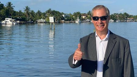 Nigel Farage tweets claiming to be in the USA. Photograph: Twitter.