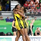 File photo dated 15-04-2018 of Jamaica's Romelda Aiken (left) and Shanice Beckford celebrate victory