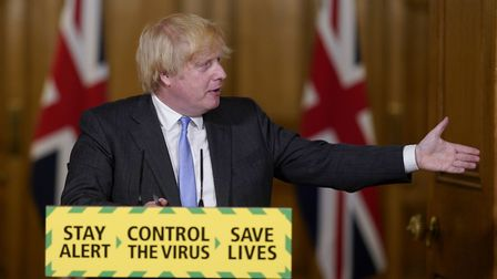 Prime Minister Boris Johnson during a media briefing in Downing Street, London, on coronavirus (COVI