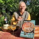 James Crowden with his book Cider Country and a bottle of Stoke Red Sparkling Cider from Burrow Hill