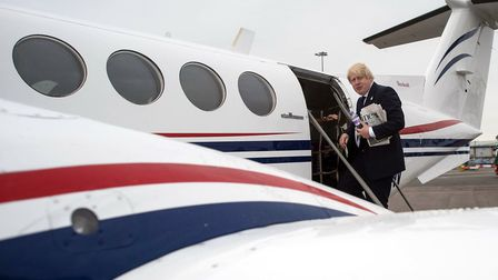 Boris Johnson takes a plane from Southend to East Midlands, which is also red, white and blue. Photo
