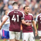 West Ham United's Declan Rice (left) and Mark Noble appears dejected after the final whistle during