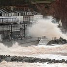 Enormous waves crashed along Sidmouth seafront after very windy conditions and high tides. Picture b