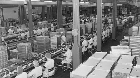 Staff working on the production line at Rowntree Mackintosh chocolate factory, Norwich. pic taken