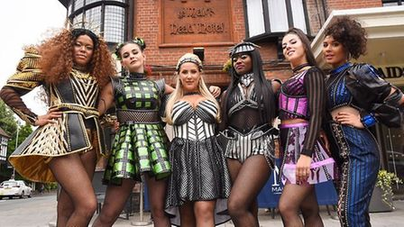 The cast of Six the Musical in 2018 outside The Maids Head Hotel ahead of their Norwich Playhouse premiere.