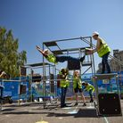 Parkourathletesand theatre performers tell the story of modern slavery in construction