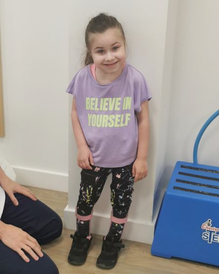 Five-year-old Harper Sharrocks from Hellesdon who is recovering well after an SDRR operation