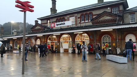 Ipswich railway station this morning - many commuters have decided to travel via Cambridge instead P