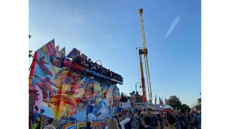 Many of Stevenage Charter Fair's rides towered above the Old Town High Street