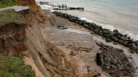 The crumbling cliffs at Happisburgh, showing the effects of coastal erosion.