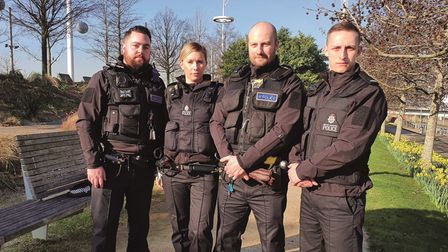 Left-to-right: Sgt TomCrocombe, PC Sidony Crowther, Insp Steve Morrison and PC James Mace
