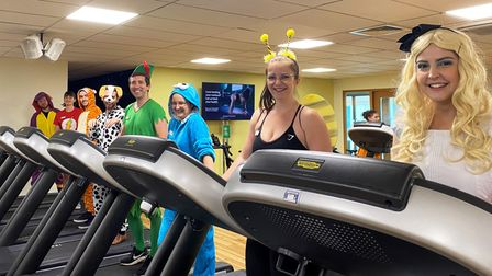 The team at Nuffield Health are celebrating the opening of their new spin studio in fancy dress