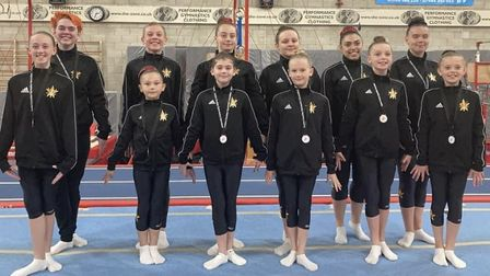 The competing gymnasts from Stevenage Sports Acrobatics Club, all of whom claimed medals at the regional championship