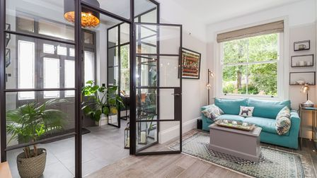 The enormous amount of natural light is is enhanced bythe Crittall style internal full height glazed panels with doors.