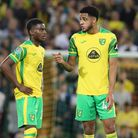 Bali Mumba of Norwich and Andrew Omobamidele of Norwich during the Carabao Cup match at Carrow Road,