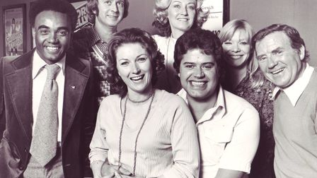 IC144: Robinson Cruesoe pantomime cast. L to R: Johnny Worthy, Barry Quest, Michele Summers (Polly P