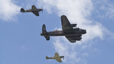 Battle of Britain. A Lancaster, Hurricane and Spitfire fly together. Hurricane that made the journey