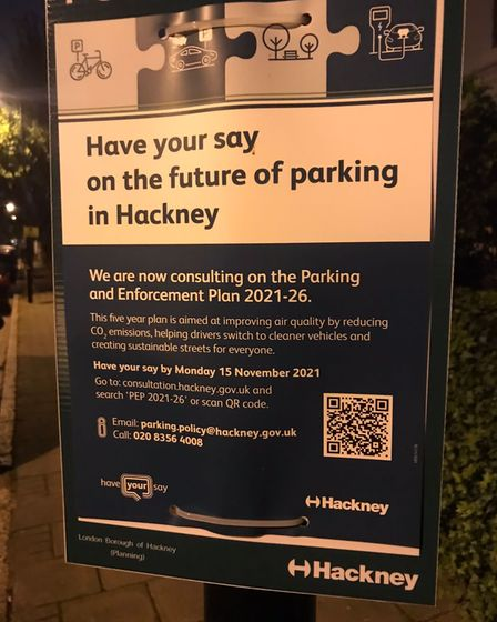 A sign telling the public about a Hackney parking consultation.