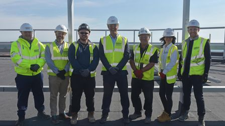 Great Yarmouth Marina topping out ceremony. Alister Broadberry, area manager for Morgan Sindall Cons