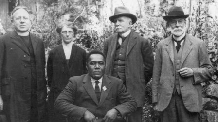 Arthur Ogilvie, Adolph and Alice Brewster and Ratu Veli in the garden of the Brewster's home at Lynwood, Torquay, June 1924.