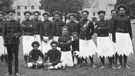A. B. Brewster (left) with his detachment of the Armed Native Constabulary on their visit to Balmoral in 1902.