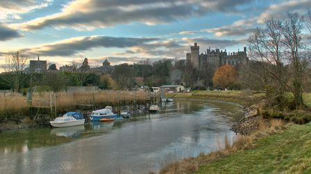 A view of Arundel Castle and the River Arun in autumn