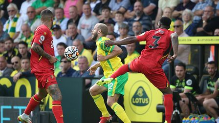 Teemu Pukki of Norwich is fouled by Danny Rose of Watford during the Premier League match at Carrow