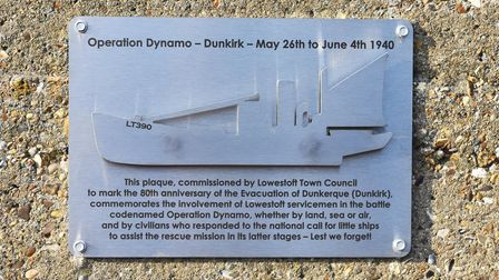 The plaque commemorates Lowestoft's involvement in the Dunkirk evacuation.