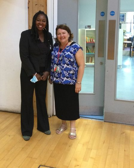 Dawn Butler MP with Newfield Primary School head Sarah Bolt
