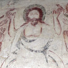 A Doom painting featuring Christ on judgement day at a church in Ickleton, Cambridgeshire