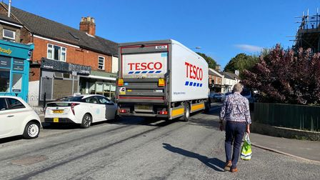 Buses and lorries have struggled to pass due to multiple parked cars near the row of shops in Unthank Road
