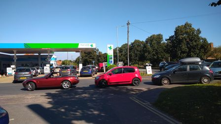 Motorists queuefor petrol following fuel shortages at Shell garage on A11 in Norfolk