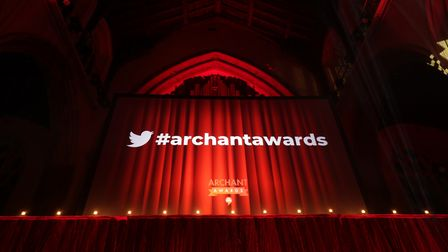 Curtain with the Twitter logo and #archantawards for the 2021 Archant Awards, Norwich