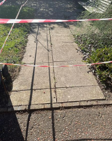 Paul Carter said the paving slabs were a hazard at Whitebeam Court