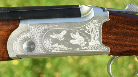 Close up of engraving on the action of the Yildiz 410 shotgun