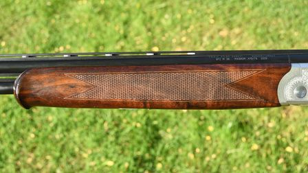 Close up of the schnabel fore-end on the Yildiz 410 shotgun