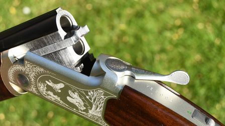 Close up of the action on a Yildiz 410 shotgun, the gun is broken and unloaded