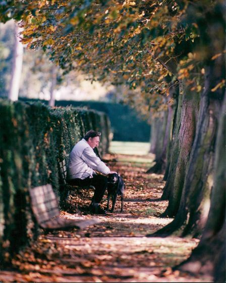 Dog walker on a bench at Eaton Park, Norwich in 1995