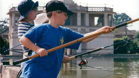 Norwich anglers at Eaton Park boating lake in 1995.