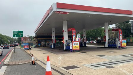 Esso garage at the top of Archway Road and North Hill, Highgate