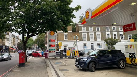 The queue for the Upper Street Shell garage