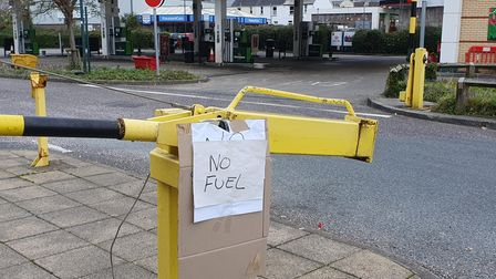 The sign outside Morrison's Fuel Station in Bideford warning of 'no fuel'