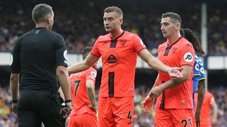 Ben Gibson of Norwich appeals to Referee David Coote during the Premier League match at Goodison Par