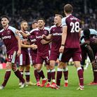 West Ham United's players including Declan Rice (left) celebrates the second goal during the Premier