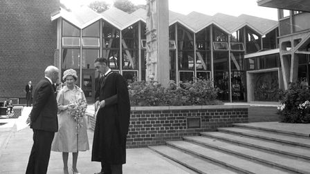 Kindred spirits pix March 9; The Queen as she arrived at the Ipswich Civic College in June 1961.