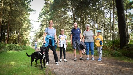Families took part in the 'Woof in the Woods'dog walk at Thetford Forest