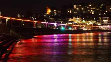 The new lighting on Torquay seafront