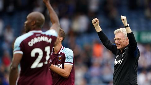 West Ham United manager David Moyes celebrates at the final whistle following the Premier League mat